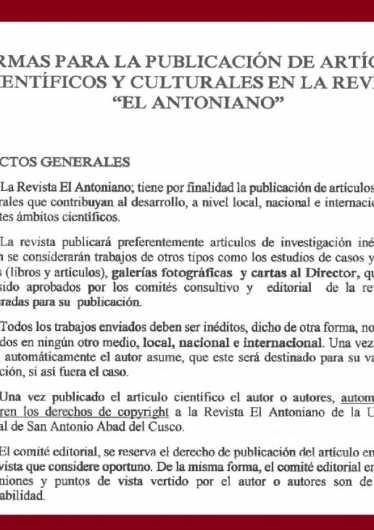 Normas Para Publicacion Articulos en la Revista el Antoniano